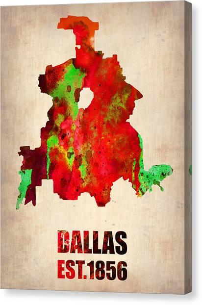 Dallas Canvas Print - Dallas Watercolor Map by Naxart Studio