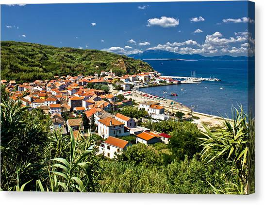 Dalmatian Island Of Susak Village And Harbor Canvas Print