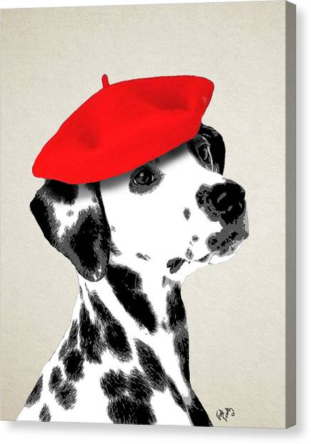 Dalmations Canvas Print - Dalmation With Red Beret by Kelly McLaughlan