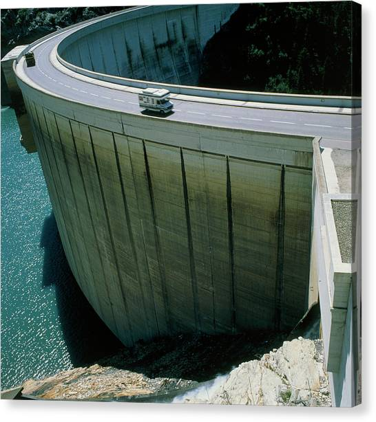 Dam Used For Hydroelectric Power Generation Canvas Print by Science Photo Library