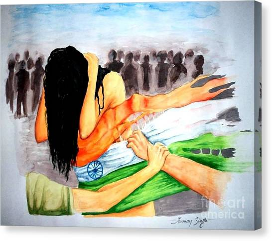 Delhi Gang Rape A Tragedy Canvas Print by Tanmay Singh