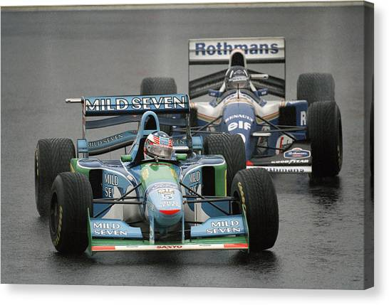 Damon Hill And Michael Schumacher Canvas Print by Pascal Rondeau