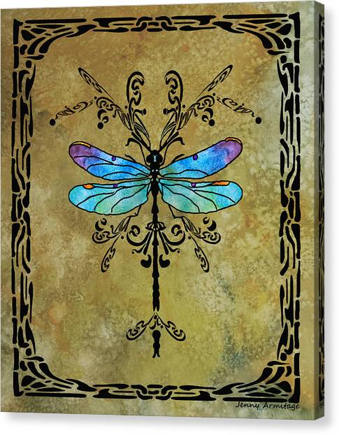 Damselfly Nouveau Canvas Print