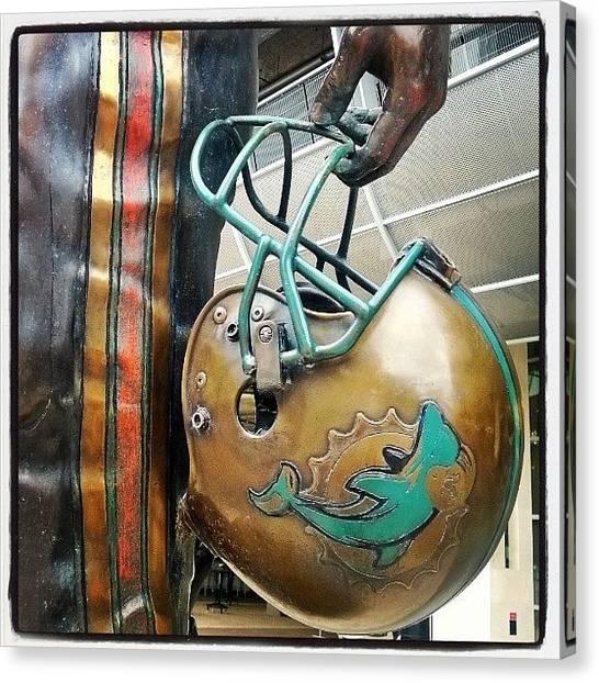 Touchdown Canvas Print - Dan Marino's Statue Helmet#marino by Andy Lopusnak