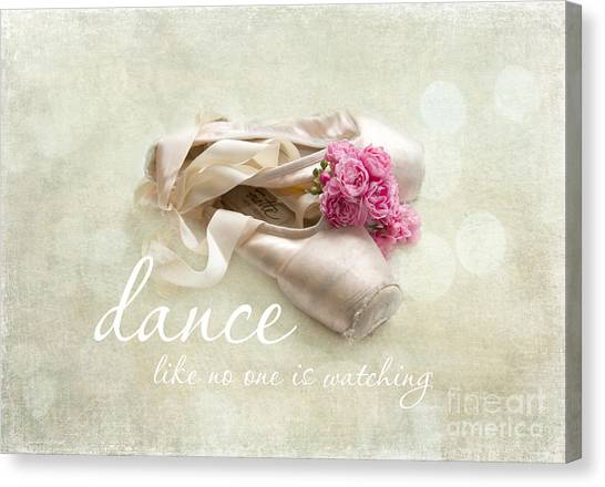 Dance Ballet Roses Canvas Print - Dance Like No One Is Watching by Sylvia Cook
