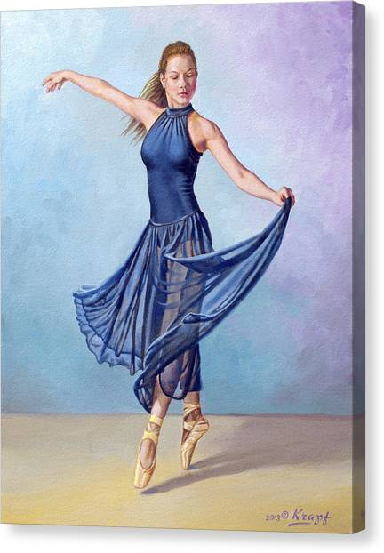 Ballet Canvas Print - Dancer In Dark Blue by Paul Krapf