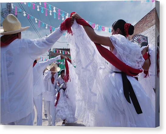 Dancers At A Traditional Fiesta Canvas Print by Russell Monk