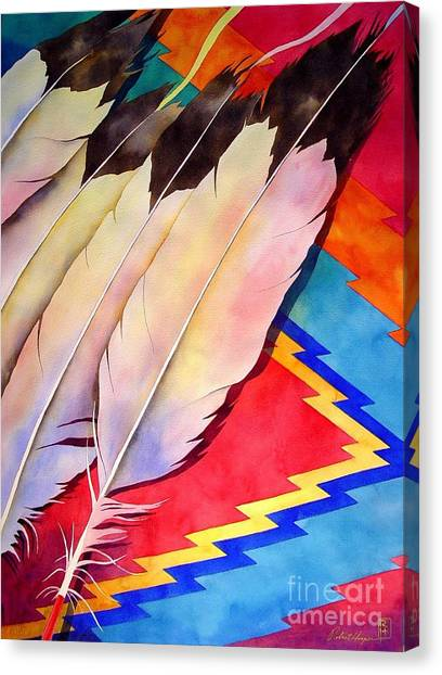 Indians Canvas Print - Dancer's Feathers by Robert Hooper