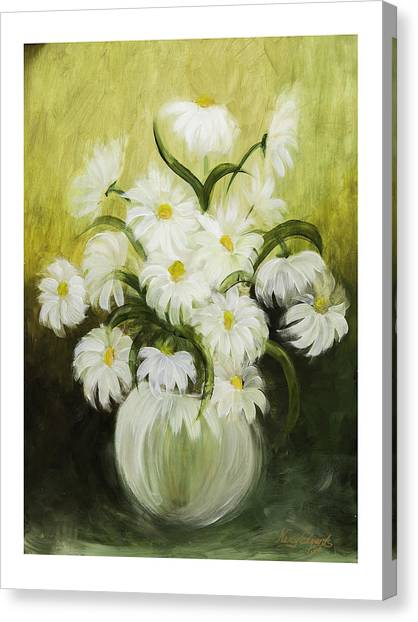 Dancing Daisies Canvas Print by Nancy Edwards