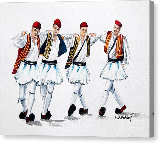 National Guard Canvas Print - Dancing Evzones by Maria Barry