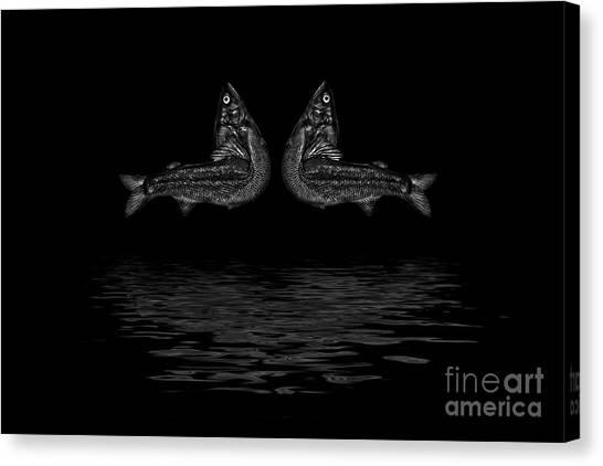 Dancing Fish At Night 2 Canvas Print