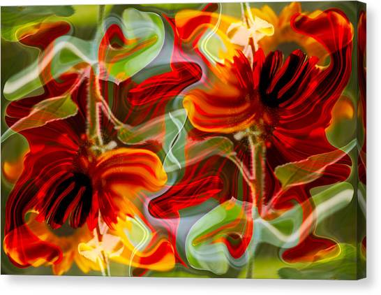 Canvas Print featuring the painting Dancing Flowers by Omaste Witkowski