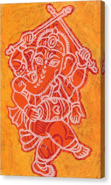 Dancing Ganesha Orange Canvas Print