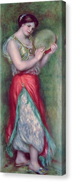 Tambourines Canvas Print - Dancing Girl With Tambourine by Pierre Auguste Renoir