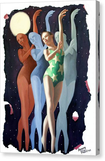 Canvas Print featuring the painting Dancing In The Moonlight by Anthony Falbo