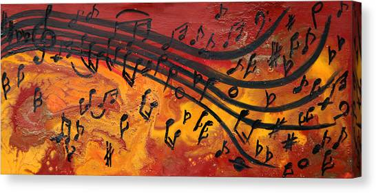 Dancing Musical Notes Canvas Print