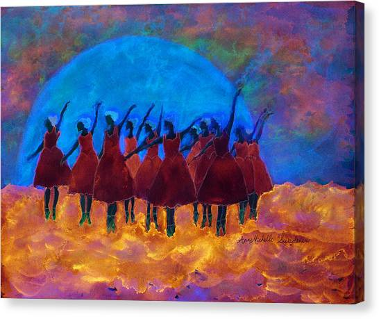 Dancing On Fire In The Moon Light Canvas Print