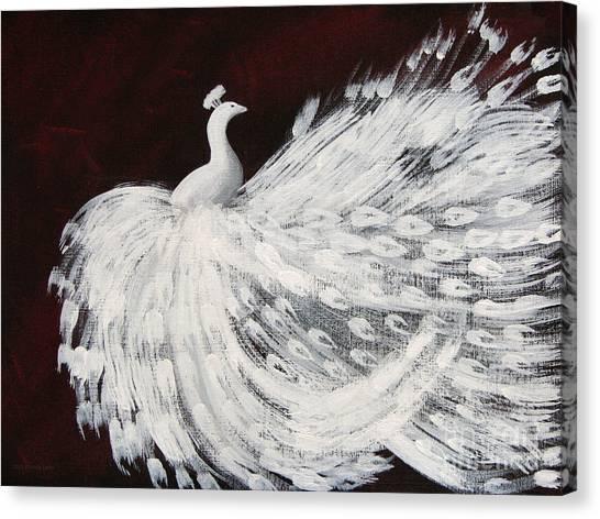Dancing Peacock Burgundy Canvas Print