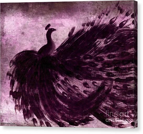 Dancing Peacock Plum Canvas Print