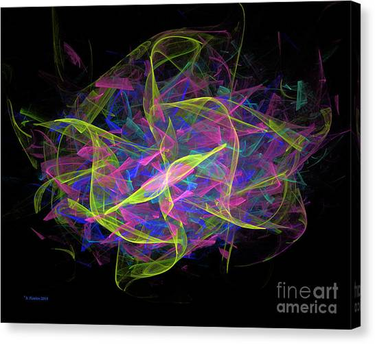 Canvas Print featuring the digital art Dancing Ribbons 4 by Dee Flouton