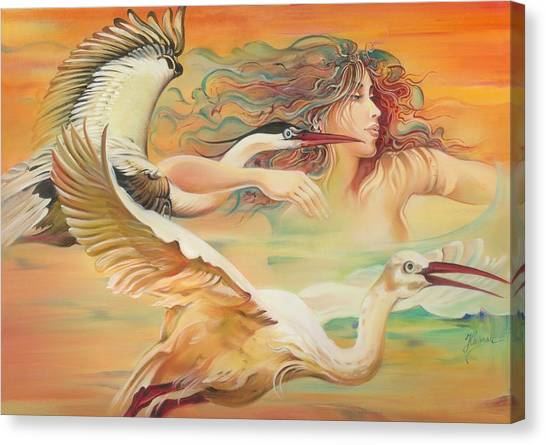 Dancing With Birds Canvas Print