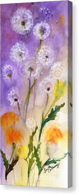 Dandelion Puff Balls Watercolor Canvas Print