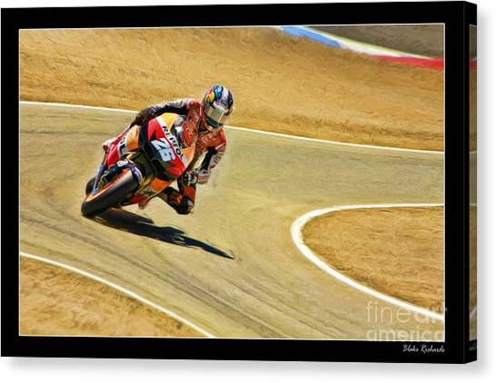 Dani Pedrosa Running Out Of Road Canvas Print