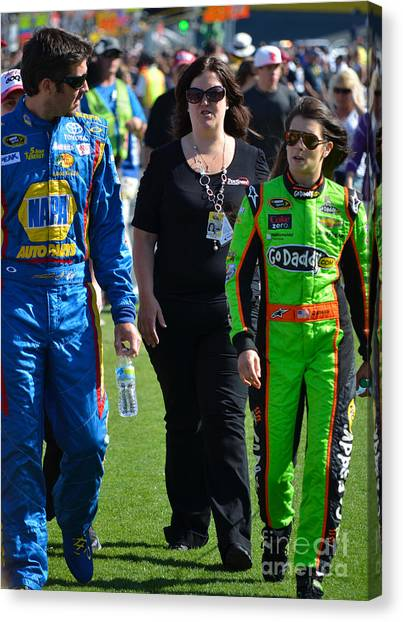 Danica Patrick Canvas Print - Danica Patrick And Martin Truex Jr. by Mark Spearman