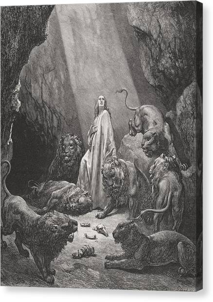 Holy Bible Canvas Print - Daniel In The Den Of Lions by Gustave Dore
