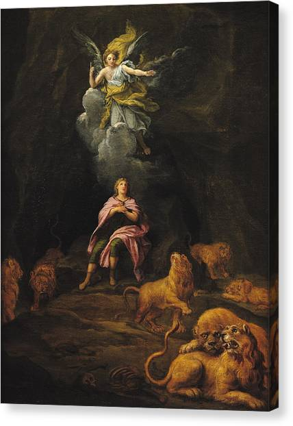 Dungeons Canvas Print - Daniel In The Den Of Lions Oil On Canvas by Francois Verdier