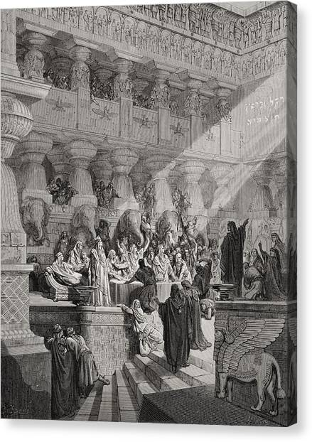 Holy Bible Canvas Print - Daniel Interpreting The Writing On The Wall by Gustave Dore