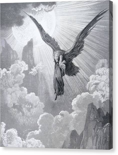 Eagle In Flight Canvas Print - Dante And The Eagle by Gustave Dore