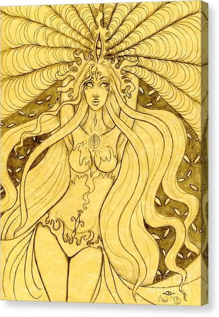 Danu Rising Sketch Canvas Print by Coriander  Shea