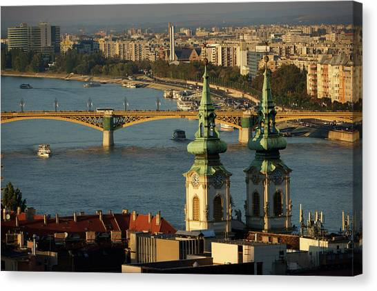 Danube River And Budapest, Hungary Canvas Print by Chlaus Lotscher