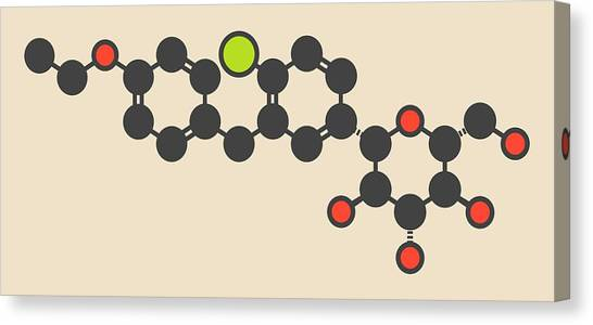 Diabetes Canvas Print - Dapagliflozin Diabetes Drug Molecule by Molekuul
