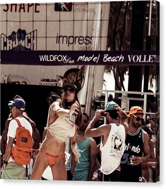 Volleyball Canvas Print - @dariamia #miami #models #beach by Maria Lankina