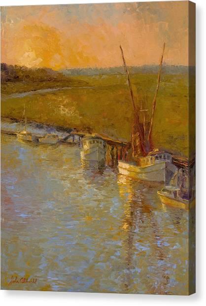 Shem Creek Canvas Print - Darien At Dusk by John Albrecht
