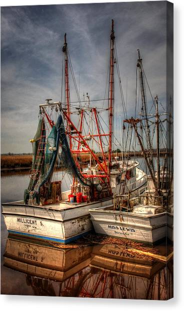 Shrimp Boats Canvas Print - Darien Boats by Greg and Chrystal Mimbs