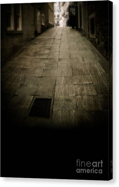 Pavers Canvas Print - Dark Alley In Old Historic City by Edward Fielding