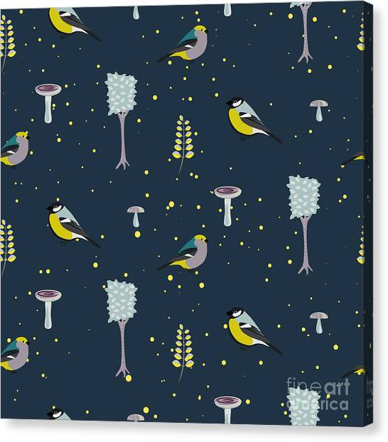 Decoration Canvas Print - Dark Blue Forest Seamless Pattern With by Yopixart