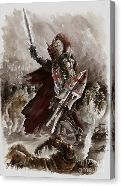 Dungeon Canvas Print - Dark Crusader by Mariusz Szmerdt