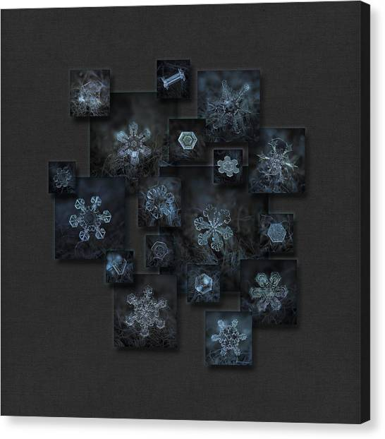 Canvas Print featuring the photograph Snowflake Collage - Dark Crystals 2012-2014 by Alexey Kljatov