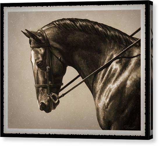Dressage Canvas Print - Dark Dressage Horse Old Photo Fx by Crista Forest