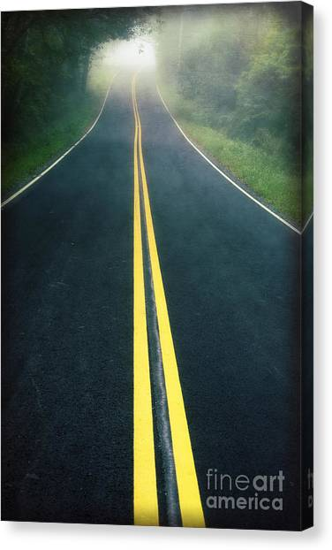 Dartmouth College Canvas Print - Dark Foggy Country Road by Edward Fielding