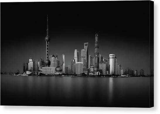 Shanghai Skyline Canvas Print - Dark Pudong by Stefan Schilbe
