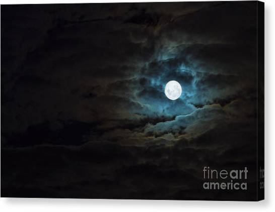 Wolf Moon Canvas Print - Dark Rising by Andrew Paranavitana