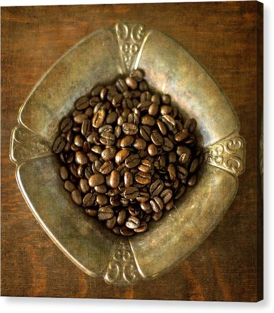 Dark Roast Coffee Beans And Antique Silver Canvas Print