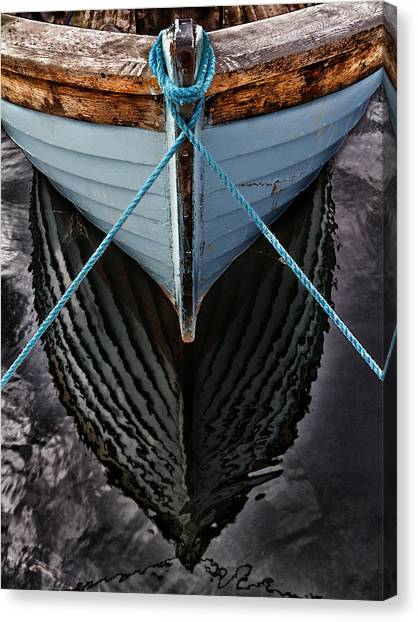 Boat Canvas Print - Dark Waters by Stelios Kleanthous
