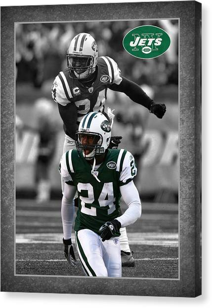New York Jets Canvas Print - Darrelle Revis Jets by Joe Hamilton