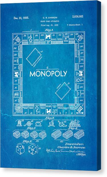 Darrow monopoly board game patent art 1935 blueprint photograph by darrow monopoly board game patent art 1935 blueprint canvas print by ian monk malvernweather Image collections